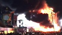 Huge blaze on stage at Spanish music festival
