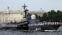 Russia displays warships in Navy Day parade