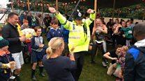 Dad dancing policeman filmed at Camp Bestival