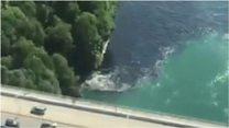 В Ниагарском водопаде почернела вода