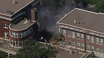 US school partially collapses in blast