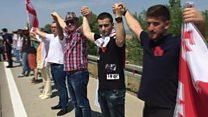 Georgians protest against Russian forces