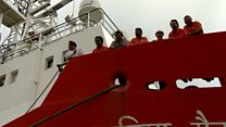 Stranded crew tell of life on board ship