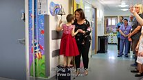 Eliana gets to ring the bell as she leaves hospital