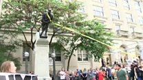 Protesters pull down Confederate statue