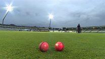 History-making cricketers' pink balls