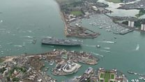 The moment HMS Queen Elizabeth arrives in Portsmouth