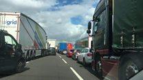Footage of M6 traffic jam after crash