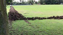 War-like trench dug around playing field