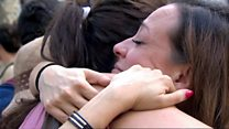 Hugs and defiance on Las Ramblas