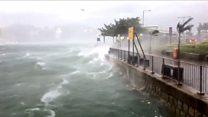 强台风天鸽迫近华南 香港风雨大作