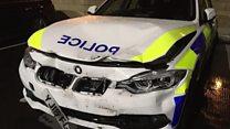 Driver filmed as car rams police car