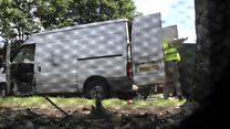 Fly-tippers in van filmed dumping sofa