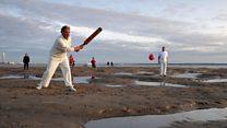 Solent sandbank cricket match adopts pink ball