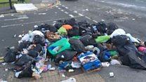 The city with a bin bag 'barricade'