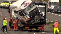 M1 crash: Lorries towed away