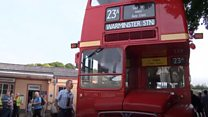 Routemasters ferry visitors to abandoned village