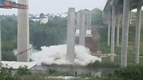 Massive bridge pillars felled - eventually