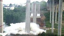 بالفيديو: لحظة تفجير أعمدة جسر ضخم في ألمانيا