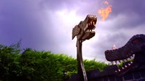 The fire-breathing dragons living in a garden