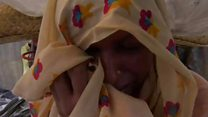 Rohingya women weep on Bangladesh border