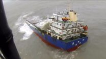 Dramatic rescue from sinking ship