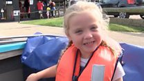 Cerebral palsy girl, six, does triathlon