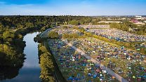 Discarded tents at the Reading Festival site help the homeless
