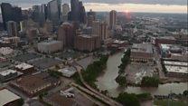 Houston storm floods shown in aerials