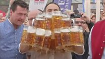 Man carries 29 beers to beat own record