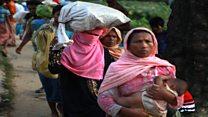 Los refugiados rohingya que escapan de la violencia en Myanmar