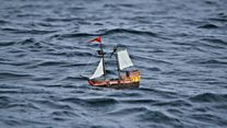 Playmobil pirate ship sails from Scotland to Norway