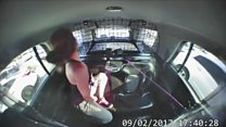 Handcuffed woman escapes in police car