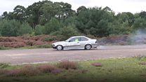 Trainee police driver hits cone camera