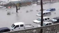 Gales and flooded cars in St. Martin
