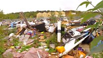 Fly-tipping on Luton Town stadium site