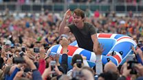 James Blunt surfs audience in a dinghy