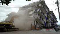 El hotel destruido por el terremoto que tuvo que ser demolido en Matías Romero, Oaxaca, México