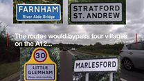 Two routes revealed for A12 bypass