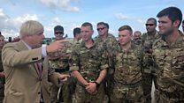 Boris meets Hurricane Irma aid troops