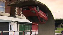 Gravity-defying car art on display in Sheffield