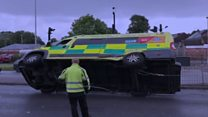 Ambulance in crash outside hospital