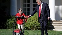 When Trump met Frank, 11, mowing the lawn