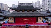 Así es como movieron en China un templo de 2.000 toneladas