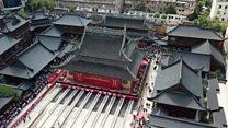 Engenheiros chineses mudam templo de 135 anos - e 2 mil toneladas - de lugar