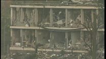Archive footage of explosion aftermath