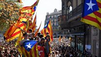 Thousands protest over Catalonia raids