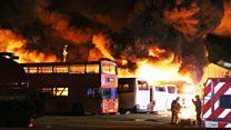 Blaze destroys fleet of 19 buses