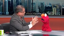 BBC Newsreader excited to meet Elmo
