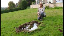 Ice block falls from sky into family's garden